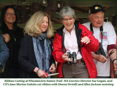 Ribbon Cutting at WheatonArts Nature Trail - WA Exective Director Sue Gogan, and CU's Jane Morton Galetto cut ribbon with Donna Vertolli and Allen Jackson assisting.