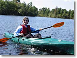Jane on kayaking on Menantico Ponds Wildlife Management Area