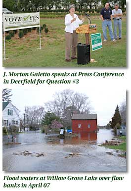 Jane speaks at press conference. Flood waters at Willow Grove Lake