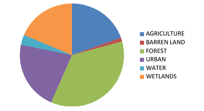 Maurice River land cover pie chart