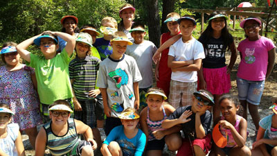 Campers with their new sun visors.