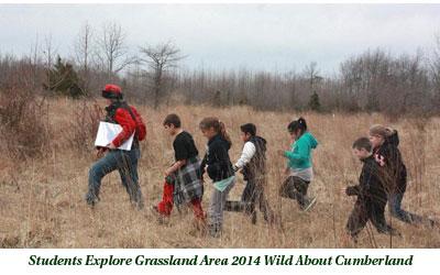 Students explore grassland area