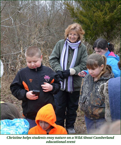 Christine helps students enjoy nature at Wild About Cumberlantd event