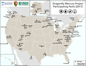 Dragonfly mercury project participating parks map