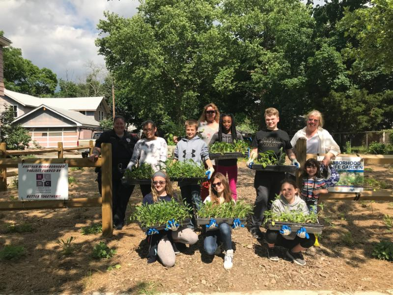Lakeside Middle School's 21st Century Program participants raised and planted flowers at the Neighborhood Wildlife Garden.