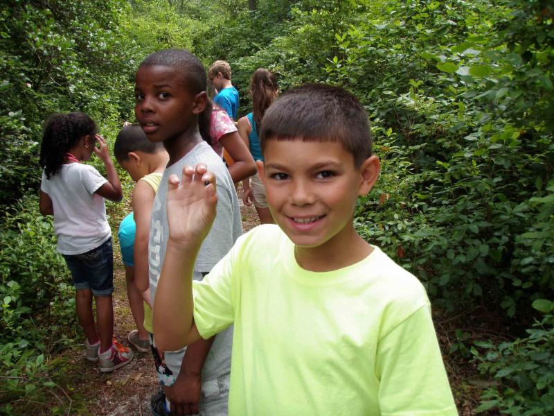 Children enjoy a CU-guided trail walk at Camp Merrywood.