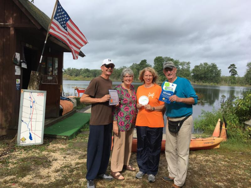 Al and Sam's receives Eco-Leader Designation from CU and Vineland Chamber of Commerce Congratulations Al and Sam's Canoe Boat and Kayak Rentals & Sales Willow Grove Lake In Background